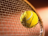 Tennis Racket Broken by Tennis Ball Photographic Print by Danilo Calilung