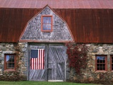 Flag Hanging on Barn Door Photographic Print by  Owaki - Kulla