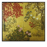 Japanese Screen with Trees and Flowering Plants Giclee Print