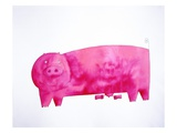 Pig with piglets Giclee Print by Julie Nicholls