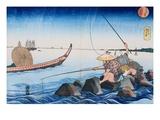 Oban Yoko-e Teppozu from the Series Famous Places of the Eastern Capital Giclee Print by Utagawa Kuniyoshi