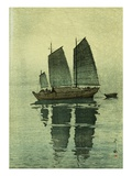 Evening, from a Set of Six Prints of Sailing Boats Giclee Print by Yoshida Hiroshi
