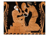 Faun Looking in a Mirror Held by a Servant Print by Le Comte After a Greek Vase Painting Giclee Print by Gianni Dagli Orti
