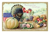 Thanksgiving Greetings with a Turkey and Fruit Giclee Print by K.J. Historical