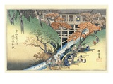 Red Maple Leaves at Tsuten Bridge, from the Series Famous Places of Kyoto Giclee Print by Utagawa Hiroshige