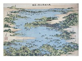 Map of Shiogama and Matsushima in Oshu Giclee Print by Katsushika Hokusai