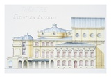 Architectural Drawing Showing Lateral Elevation of Theatre Building by H. Monnet Giclee Print by Stapleton Collection 