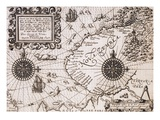 Map of Nova Zembla from Diarium Nauticum, seu vera descriptio trium navigationum admirandarum Giclee Print by Gerrit de Veer