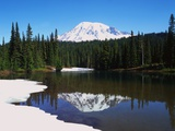 Lake Recfleting Mount Rainier Photographic Print by Robert Glusic