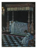 Illustration Depicting Sleeping Beauty and Her Attendant Asleep by W. Heath Robinson Giclee Print