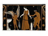 19th Century Greek Vase Illustration of Eros Before an Altar with a Woman Giclee Print by Stapleton Collection