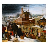 Townsfolk Skating on a Castle Moat Impression giclée par Pieter Brueghel the Younger