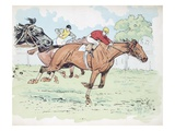 Competitors in a Horse Race Giclee Print