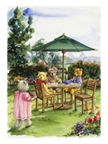 Teddy Bears at a Backyard Tea from Teddy Bears' Picnic Cookbook Giclee Print by Alexandra Day