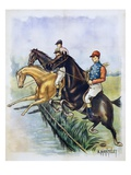 Poster of a Steeplechase Horse Race by A. Mantelet Giclee Print