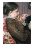 Detail Showing Profile of Woman from A Cup of Tea Premium Giclee Print by Mary Cassatt