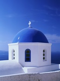 Detail of Whitewashed Church With Blue Dome Photographic Print by Jonathan Hicks