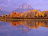 Oxbow Bend Reflecting Mount Moran Fotografie-Druck von Jeff Vanuga