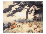 Hillside with Flowering Azalea Giclee Print by Yoshida Hiroshi