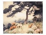 Hillside with Flowering Azalea Giclee Print by Yoshida Hiroshi