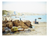 A Beach Scene in Cornwall, England Giclee Print by Thomas J. Purchas