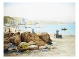 A Beach Scene in Cornwall, England Premium Giclee Print by Thomas J. Purchas