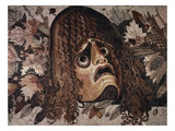 Mosaic of Tragic Mask from House of the Faun in Pompeii Giclee Print by Gustavo Tomsich
