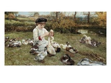 Feeding the Ducks Giclee Print by Edward Killingworth Johnson