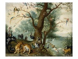 Animals and Birds in the Garden of Eden Giclee Print by School of Ferdinand van Kessel 