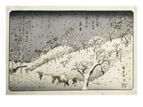 Evening Snow at Asuka-yama from the Series Eight Views of the Suburbs of Edo Giclee Print by Hiroshige Utagawa