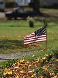 Small American Flag Posted in Yard Photographie par Bob Rowan