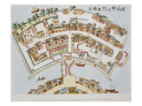 Plan of the Dutch Factory in the Island of Desima, at Nagasaki, Book from Illustrations of Japan .. Reproduction procédé giclée par Isaac Titsingh