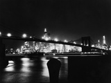 Night View Of Brooklyn Bridge Photographic Print by Bettmann