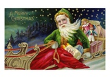 A Merry Christmas with Santa in a Sleigh Reproduction procédé giclée par Lake County Museum