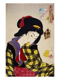 Looking Shy: The Appearance of a Young Girl of the Meiji Era Giclee Print by Taiso Yoshitoshi