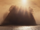 Sun Beams Breaking through Fog over Sea Stack Photographic Print by James Randklev