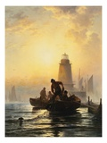 Fish Pond, Orient Bay, L.I. Giclee Print by Edward Moran