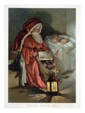 Illustration Entitled The New Picture Book Depicting a Visit from Santa Reproduction procédé giclée