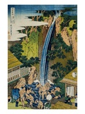 Roben Waterfall of Oyama in Sagami Province, from the Series A Journey to the Waterfalls of All the Giclee Print by Katsushika Hokusai