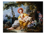 A Young Woman Seated with a Dog and a Watering Can in a Garden Giclee Print by Jean-Honore Fragonard