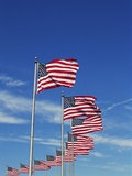 Flags at Washington Monument Photographic Print by David Papazian