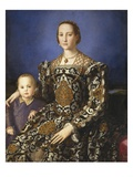 Eleonora of Toledo with Her Son Giclée-tryk af Agnolo Bronzino