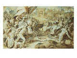 A Battle Scene Outside the Walls of Rome () Giclee Print by Federico Zuccari Or Zuccaro