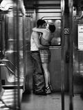 Passionate Couple Kissing in Subway Car Photographic Print by Matthew Alan