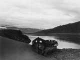Abandoned Boat on Himalayan Lakeshore Photographic Print by Chris Rainier