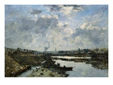 Fecamp, The Arriere-Port in Construction Giclee Print by Eugène Boudin