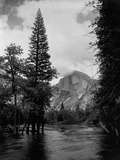 Half Dome Over Merced River Photographic Print