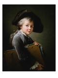 A Young Boy Holding a Portfolio Giclee Print by Francois-Hubert Drouais