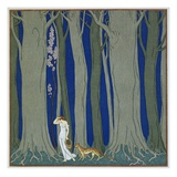 Book Illustration of a Woman and a Leopard in the Forest by Georges Barbier Giclee Print by Stapleton Collection