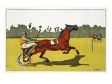 Print of a Trotting Pony Pulling a Racing Cart by Charles Olncelin Giclee Print by Stapleton Collection